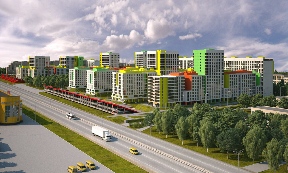 """Aquarelle"" – a residential complex with a unique facade architecture and panoramic glazing, located in Balashikha"