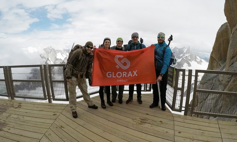 Glorax Life team members on the conquered peak of Elbrus
